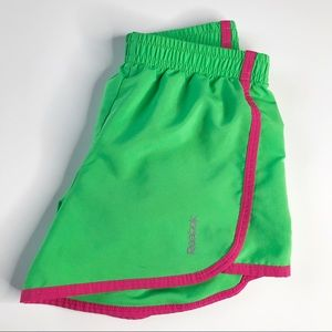 Reebok Shorts Girls Green w/ Pink Liner Panties XS